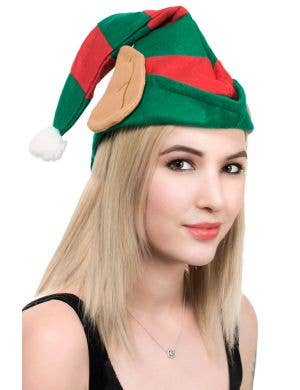Festive Red and Green Elf Hat with Ears