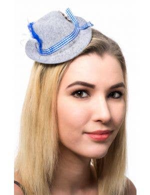 Mini Grey Bavarian Oktoberfest Hat with Clips
