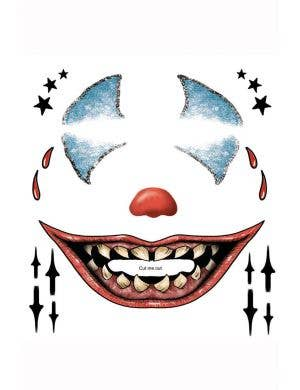 Creepy Clown Halloween Temporary Tattoo Makeup
