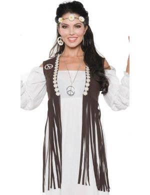 1970's Women's Fringed Brown Faux Suede Hippie Vest