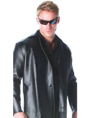 Menace Black Vinyl Men's Plus Size Costume Trench Coat