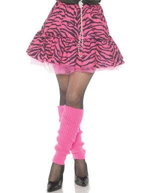 1980'S Women's Pink and Black Zebra Print Costume Skirt