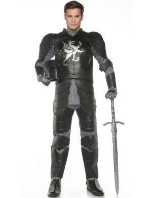 Medieval Black Knight Men's Fancy Dress Costume