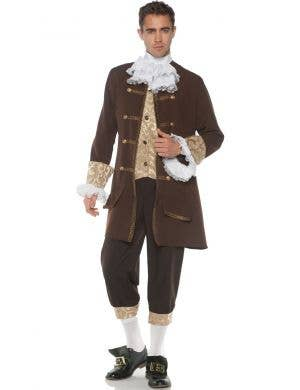 Deluxe Colonial Men's Brown Plus Size Fancy Dress Costume