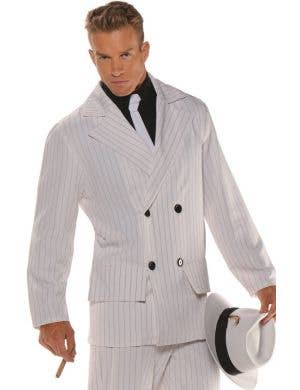 Smooth Criminal Men's Plus Size White Pinstripe Gangster Costume