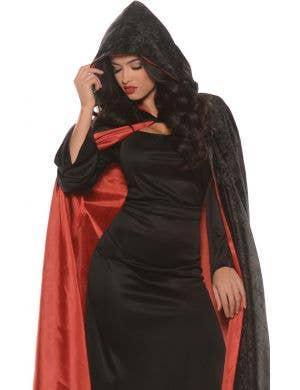 Hooded Velvet Women's Cape with Red Satin Lining