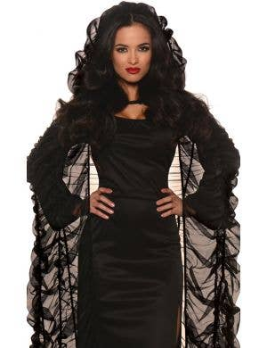 Ruched Long Black Women's Halloween Hooded Coffin Cape