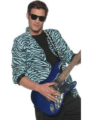 1980's Blue Zebra Print Men's Plus Size Costume Blazer