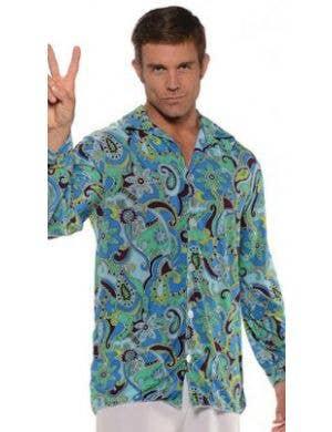 5f913d2a4 ... 1970's Groovy Hippie Plus Size Men's Costume Shirt