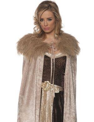 Renaissance Beige Velvet Women's Costume Cape