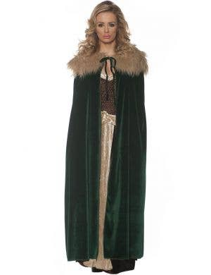 Renaissance Women's Full Length Green Costume Cape
