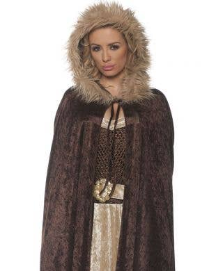 Renaissance Brown Velvet Women's Costume Cape