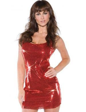 1970's Disco Women's Red Sequined Costume Dress