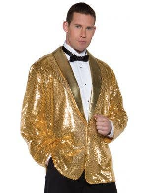 Cabaret Men's Plus Size Gold Sequined Costume Jacket