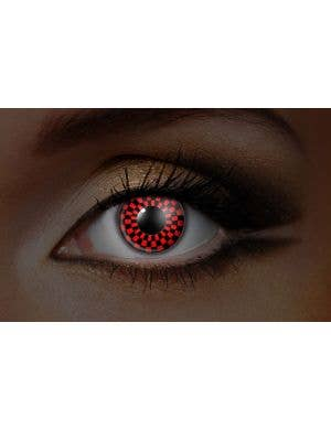 Checkers UV Reactive 90 Day Wear Red and Black Contact Lenses