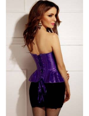 Satin Peplum Corset in Purple