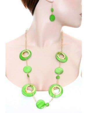 70's Retro Green Necklace and Earring Set