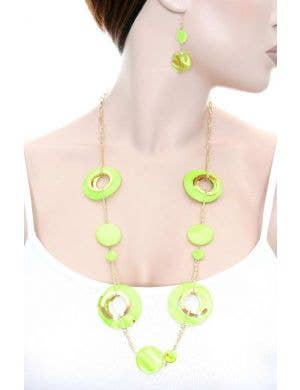 70's Retro Yellow Necklace and Earring Set