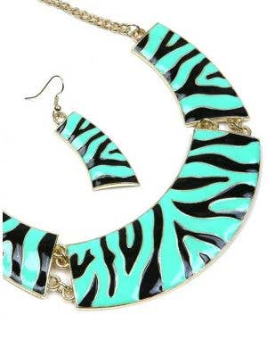 Zebra Print 1980's Women's Necklace and Earrings Set - Green