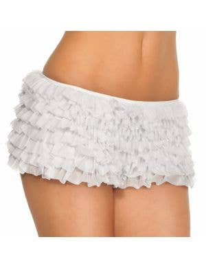 Ruffled Booty Shorts with Bow in White