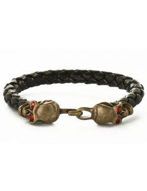 Jeweled Pirate Skull Leather Costume Bracelet