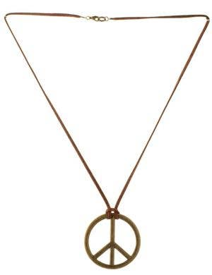 Rustic Peace Sign Necklace With Leather Chain