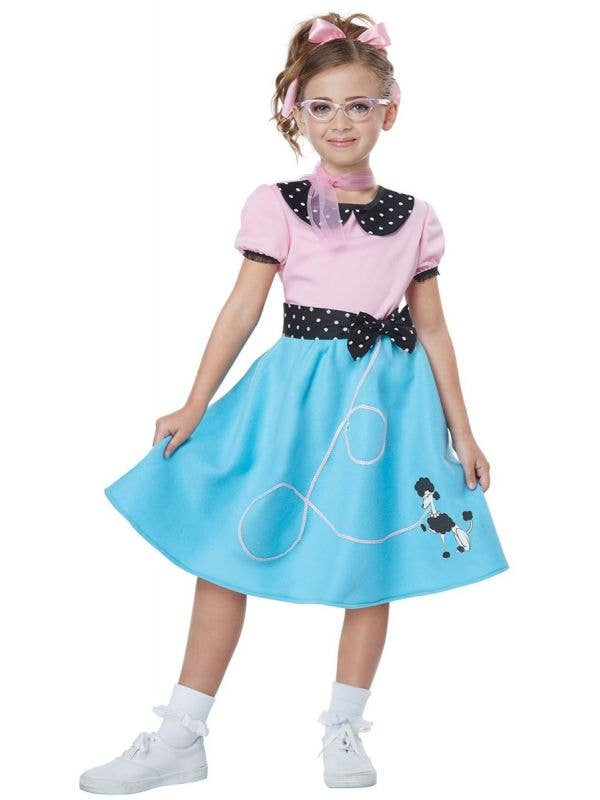 Girls Pink and Blue 1950's Poodle Dress Costume