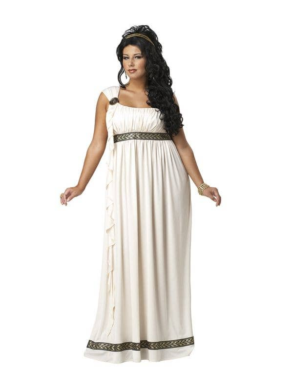 olympic goddess plus size costume ancient rome white
