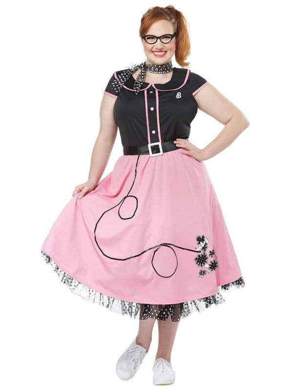 Women's Plus Size Pink and Black 50's Poodle Skirt Retro Costume
