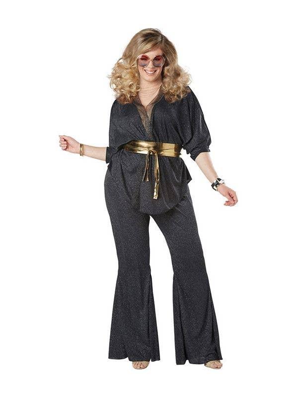 d5431f8d27027c Plus Size Black And Silver Glitter Women's Dazzling Diva 70's Fancy Dress  Costume