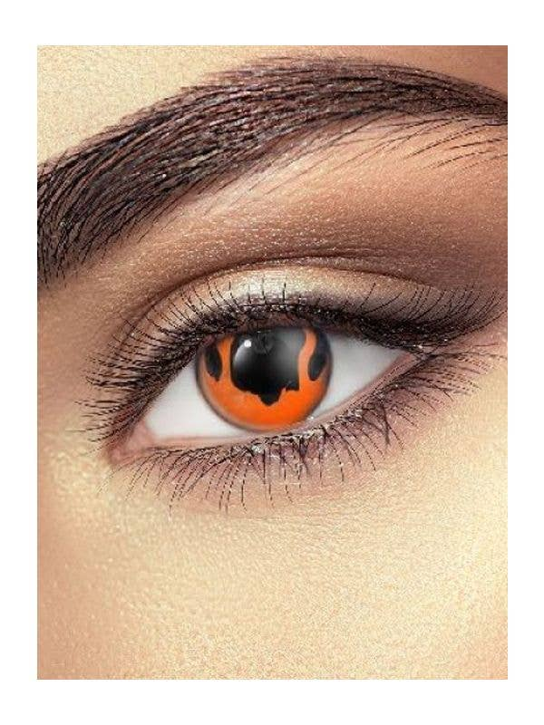 Red Hells Fire Contact Lenses Costume Accessory - Main Image