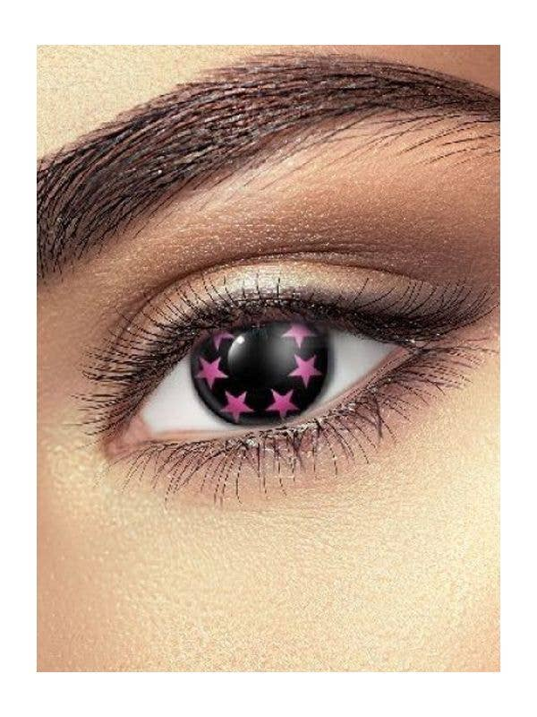 Black and Pink Sparkle Star Contacts Costume Accessory - Main Image