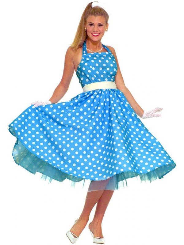 Women's Blue Polka Dot 50's Costume Dress Front View