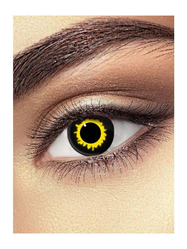 Single Wear Yellow Patterned Wolf Eye Contact Lenses - Main Image