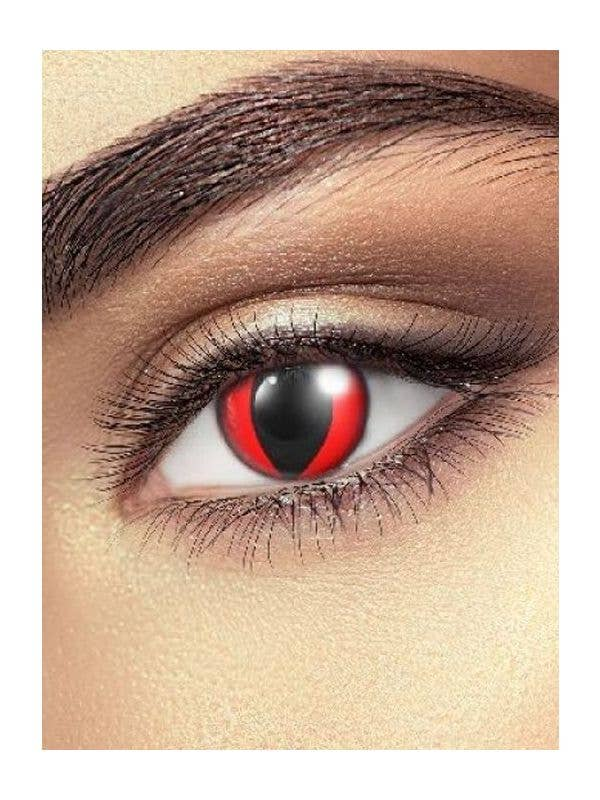Red Crazy Cat Eye Single Use Contact Lenses Adult Costume Accessory - Main Image
