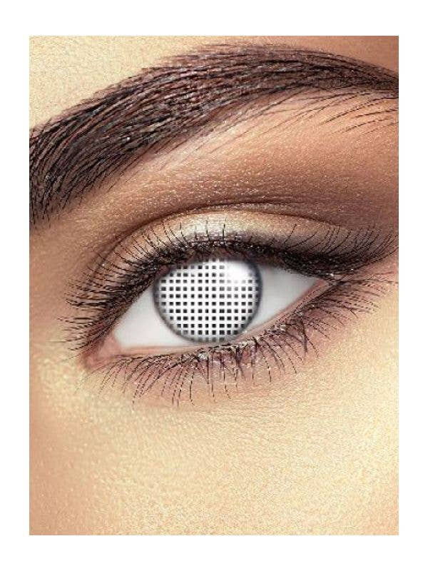 White Mesh Design Halloween Single Wear  Contact Lenses Adult Costume Accessory