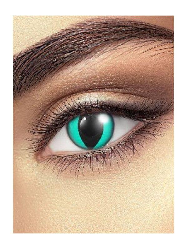 Crazy Cheshire Cat Aqua Coloured Contact Lenses Main Image