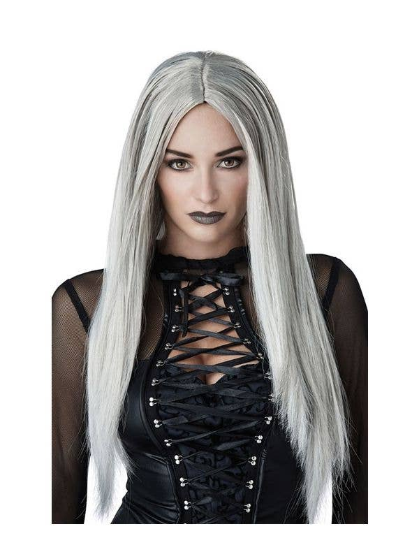 a163d6a8b Women's Gothic Matriarch Long Grey And White Halloween Costume Wig Front  View