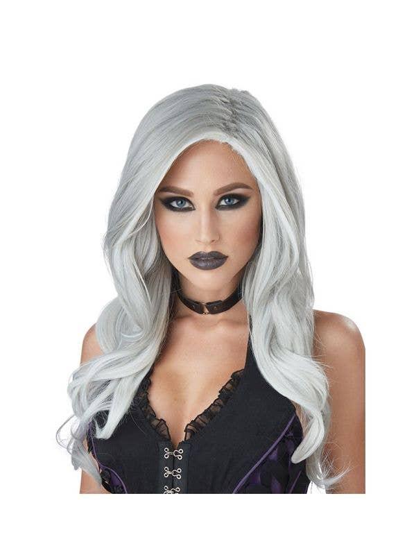 Womens Grey And White Ghostly Fatal Beauty Halloween Costume Wig e7e7478ff9