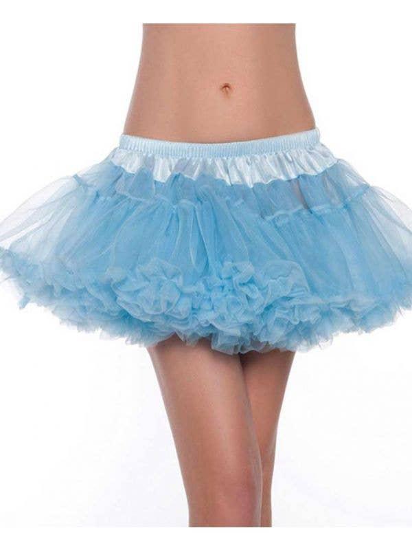 Mini Fluffy Light Blue Petticoat Front View