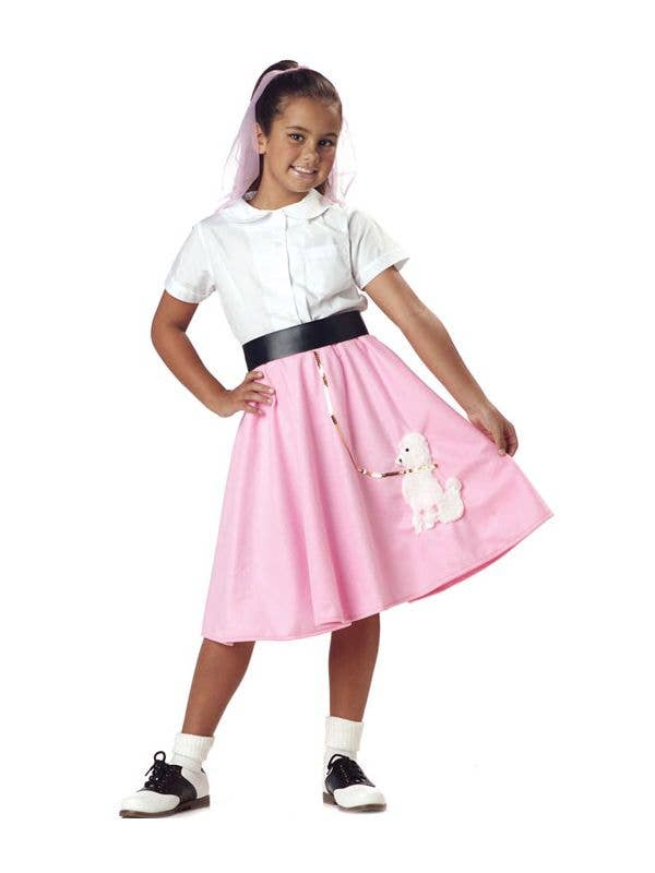 Pink and White Girl's 50's Poodle Skirt Costume Front View