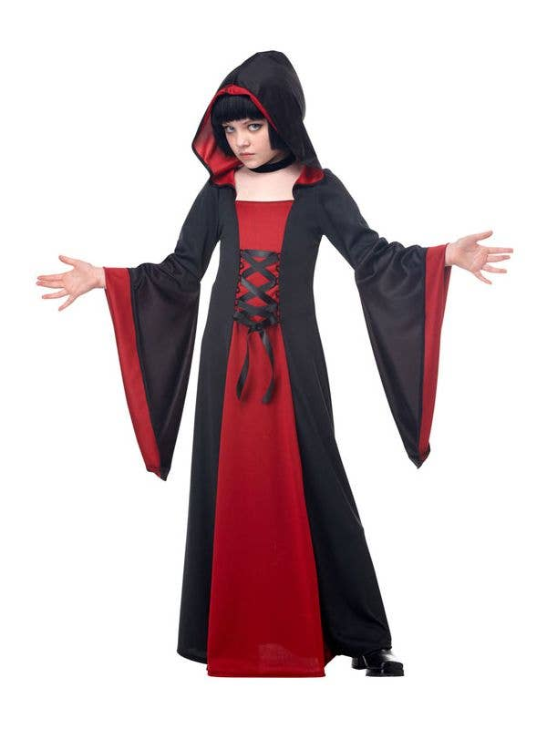 Black and Red Girl's Vampire Costume Robe Front View