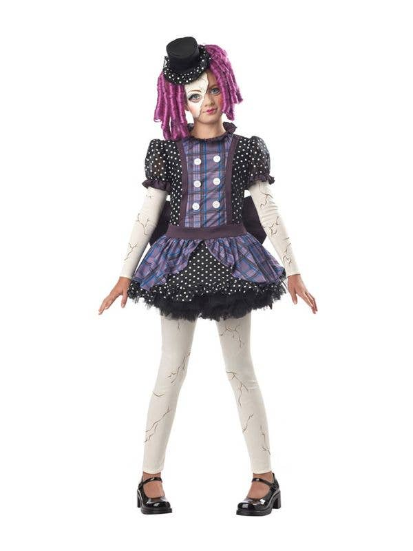 c19fd07542b Girl s Broken Doll Costume Black and Purple Dress Front View