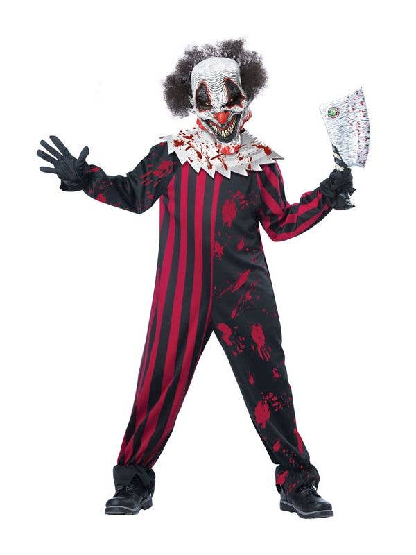 Boy's Killer Clown Creepy Circus Halloween Costume Front