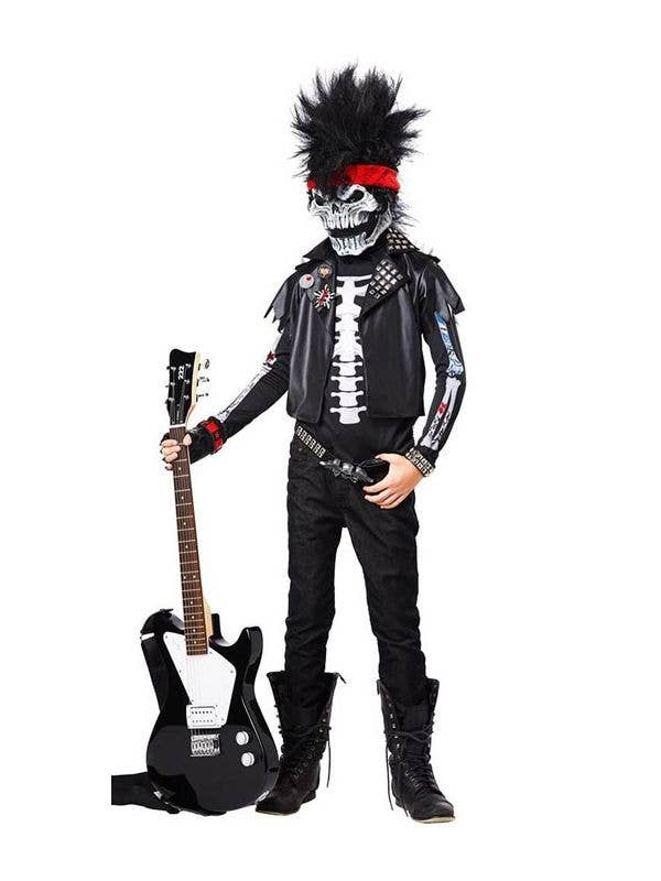 Boy's Skeleton Rock Music Halloween Costume with Mask Front