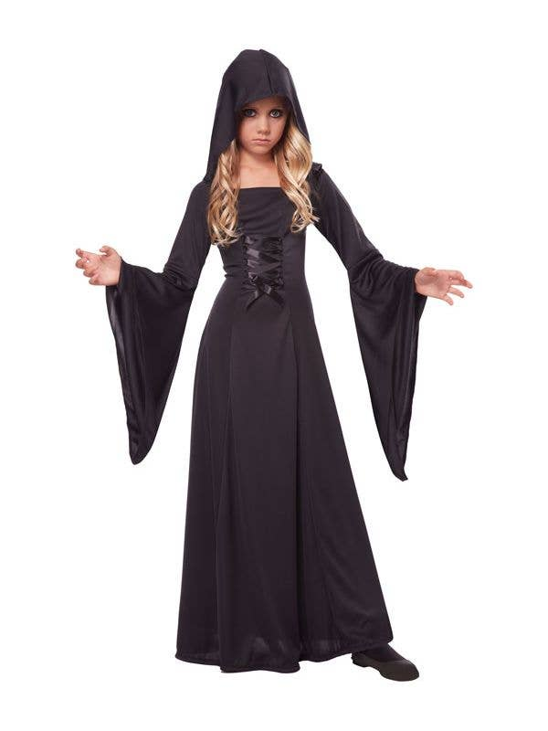 Girl's Black Long Hooded Robe Costume Front View
