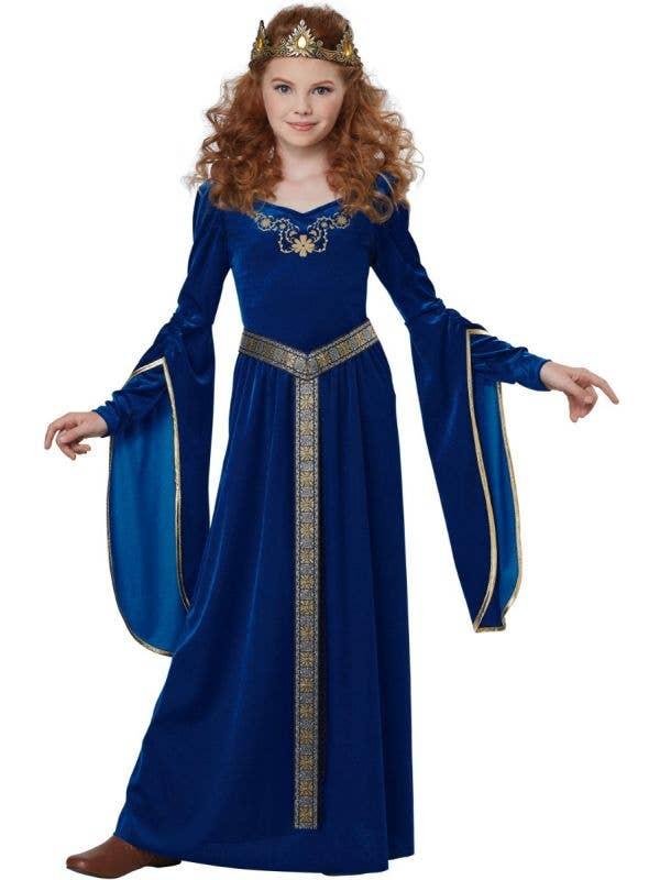 Blue Girl's California Costumes Medieval Renaissance Long Princess Dress Main Image