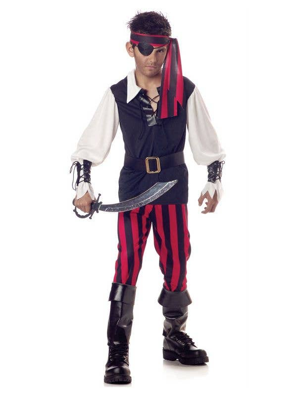 Pirate Boy's Black and Red Buccaneer Book Week Costume Front