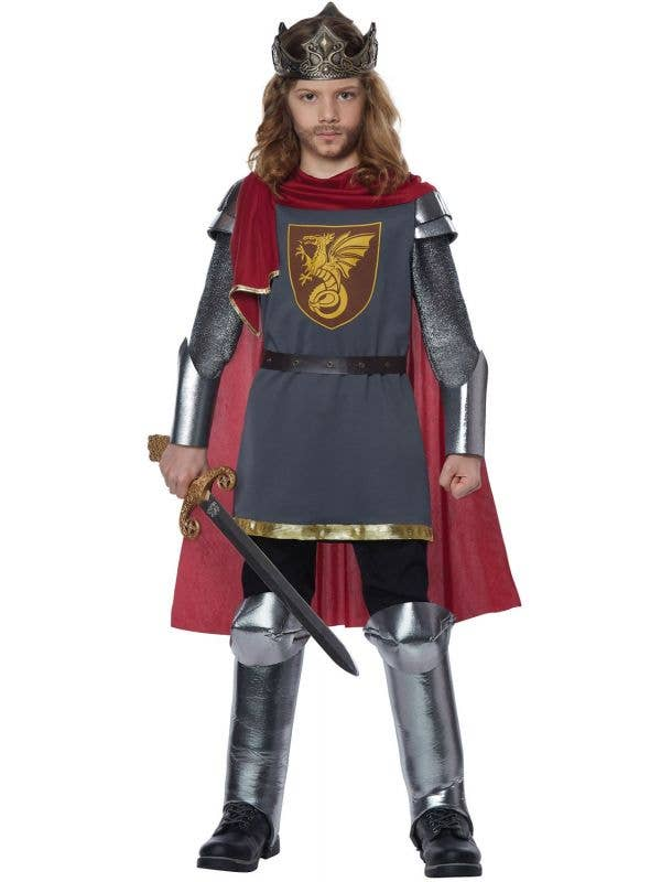 Medieval King Red and Silver Boys Costume Main Image