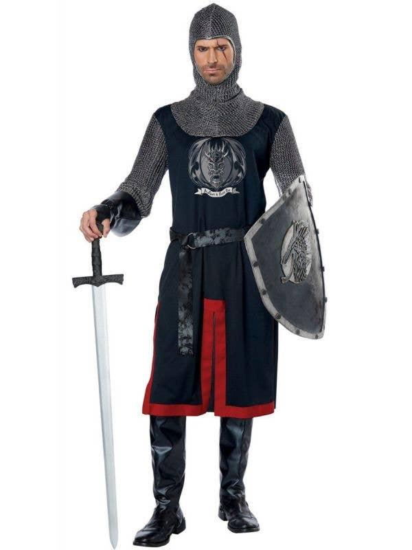 Dragon Knight Men's Medieval Black Knight Costume Main Image